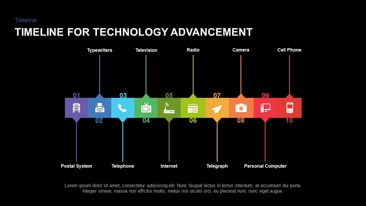 Timeline for Technology Advancement PowerPoint Shapes and keynote