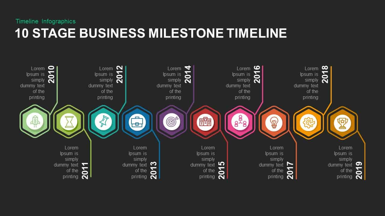 10 stage business milestone timeline powerpoint and keynote slide
