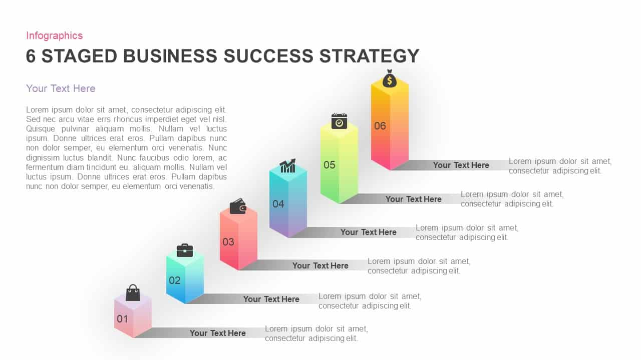 6 Stages Business Success Strategy PowerPoint Template and keynote