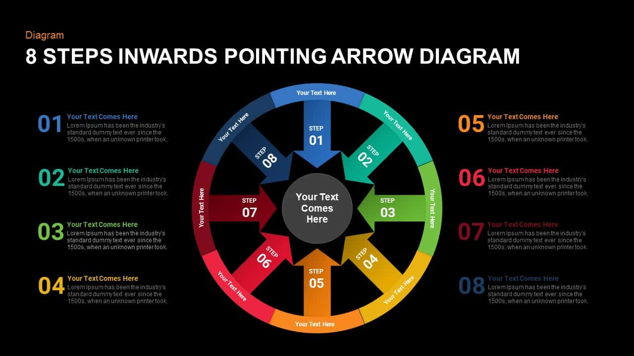 8 steps inwards pointing arrow diagram powerpoint template and keynote slide