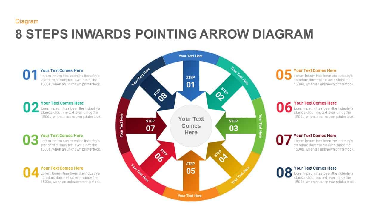 8 Steps Arrows Pointing Inwards Diagram PowerPoint Template and Keynote Slide