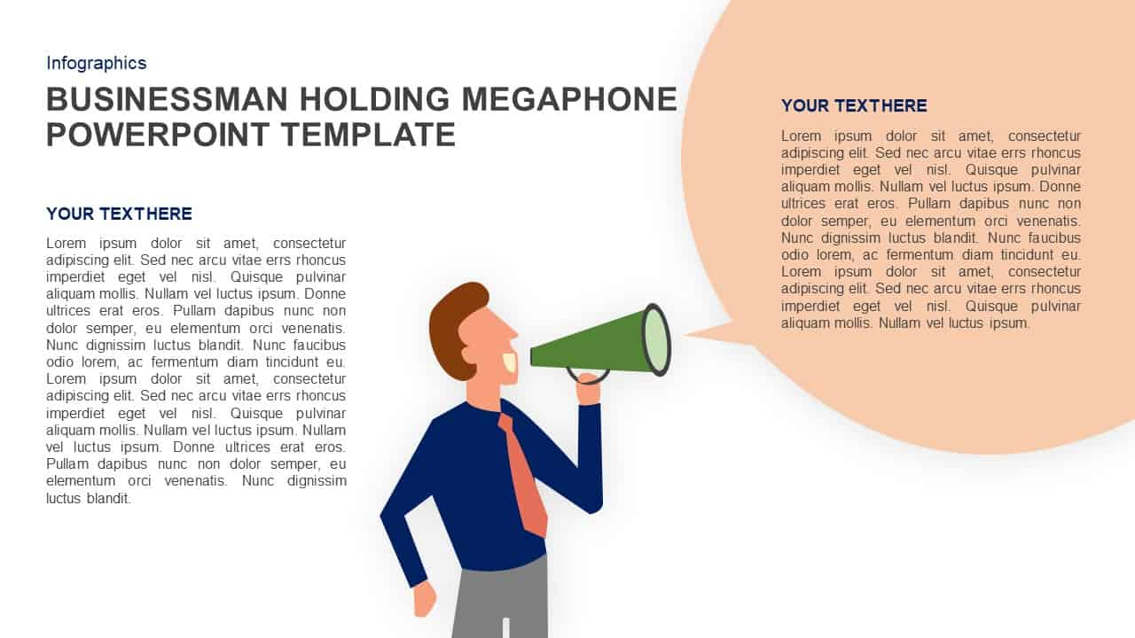 Businessman Holding Megaphone PowerPoint Template and Keynote