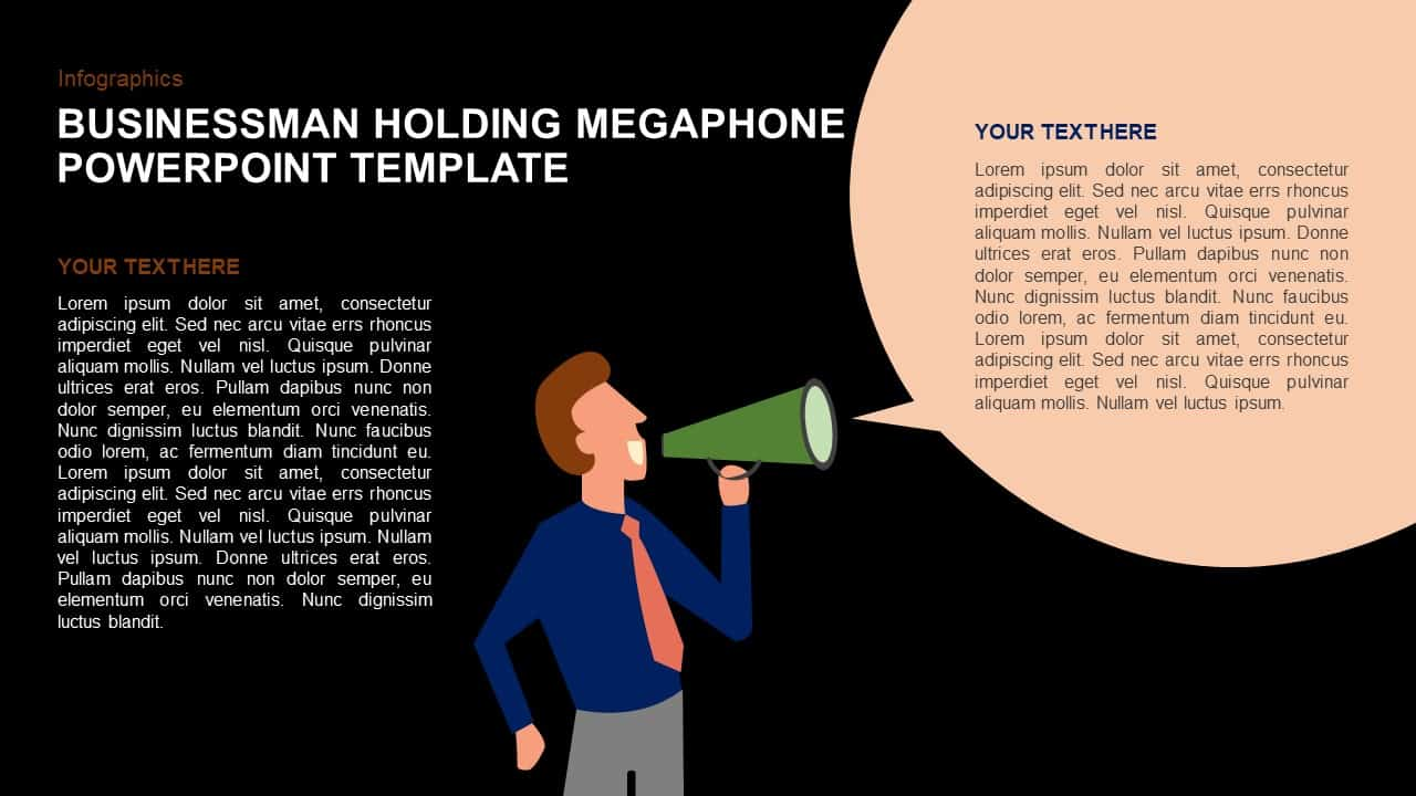 Businessman Holding Megaphone Template for PowerPoint and Keynote