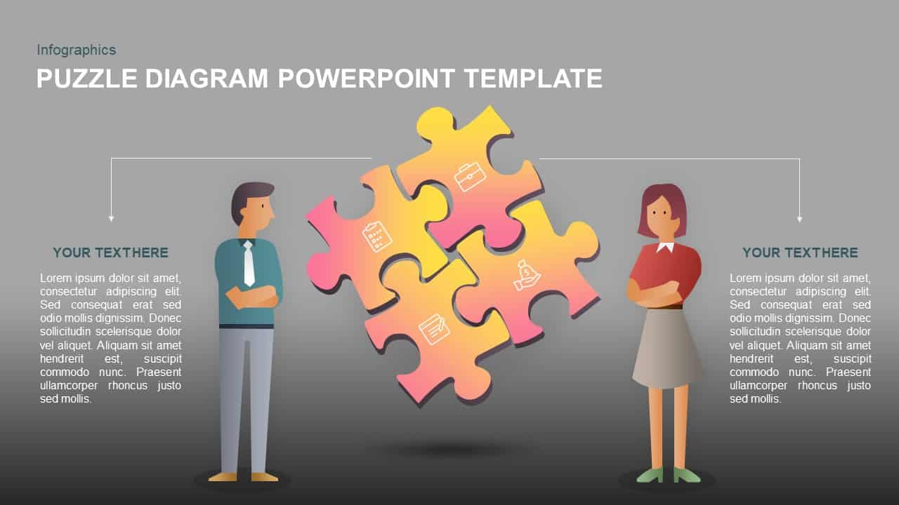 Puzzle diagram template for PowerPoint and keynote