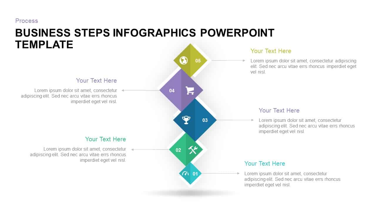 Business steps infographic PowerPoint template and keynote