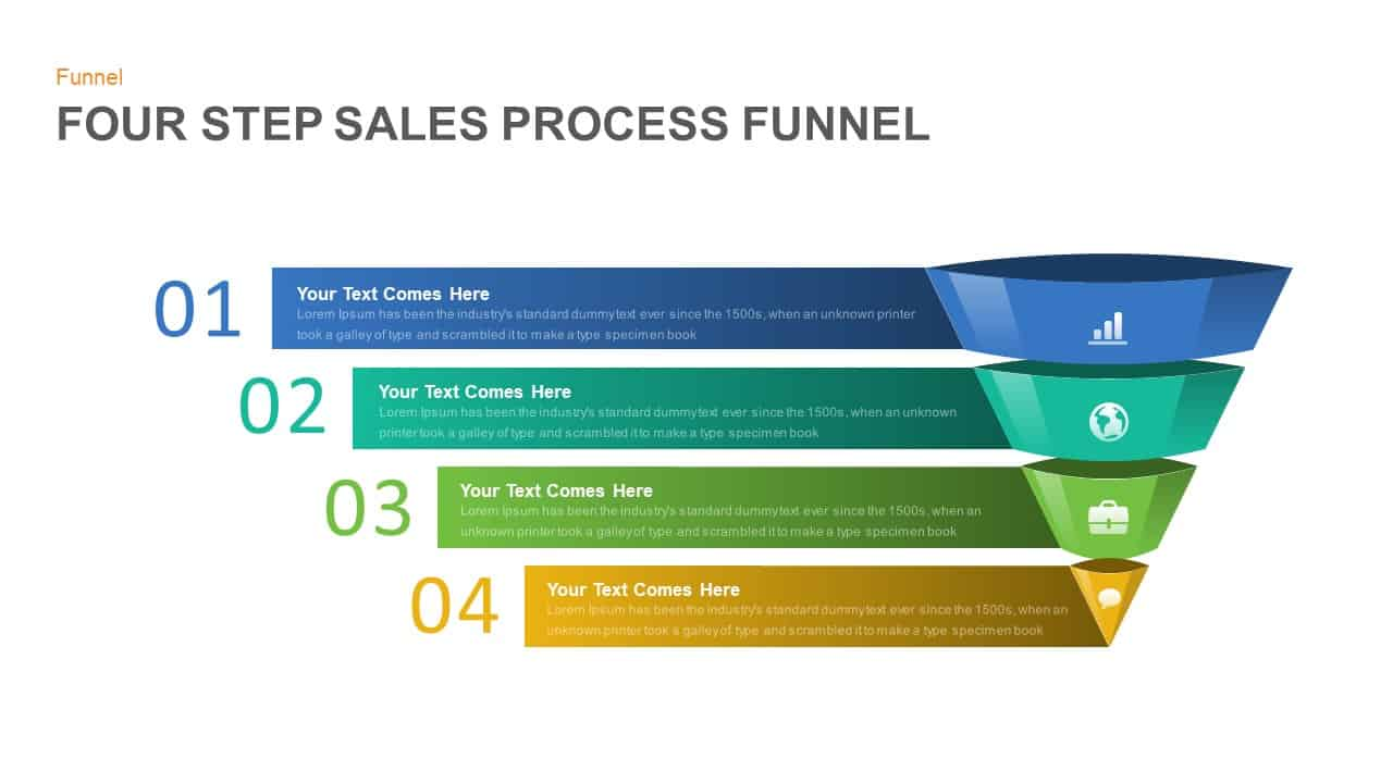 4 step sales funnel template for PowerPoint and keynote