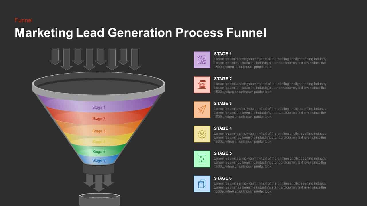 Marketing lead generation process funnel powerpoint and keynote slide