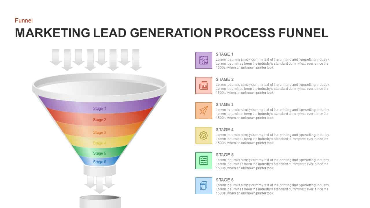 lead generation marketing process funnel PowerPoint template