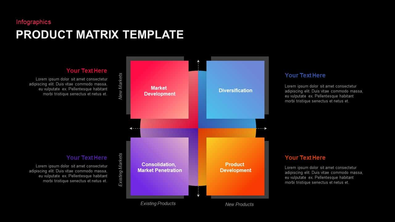 Product matrix template powerpoint template and keynote slide