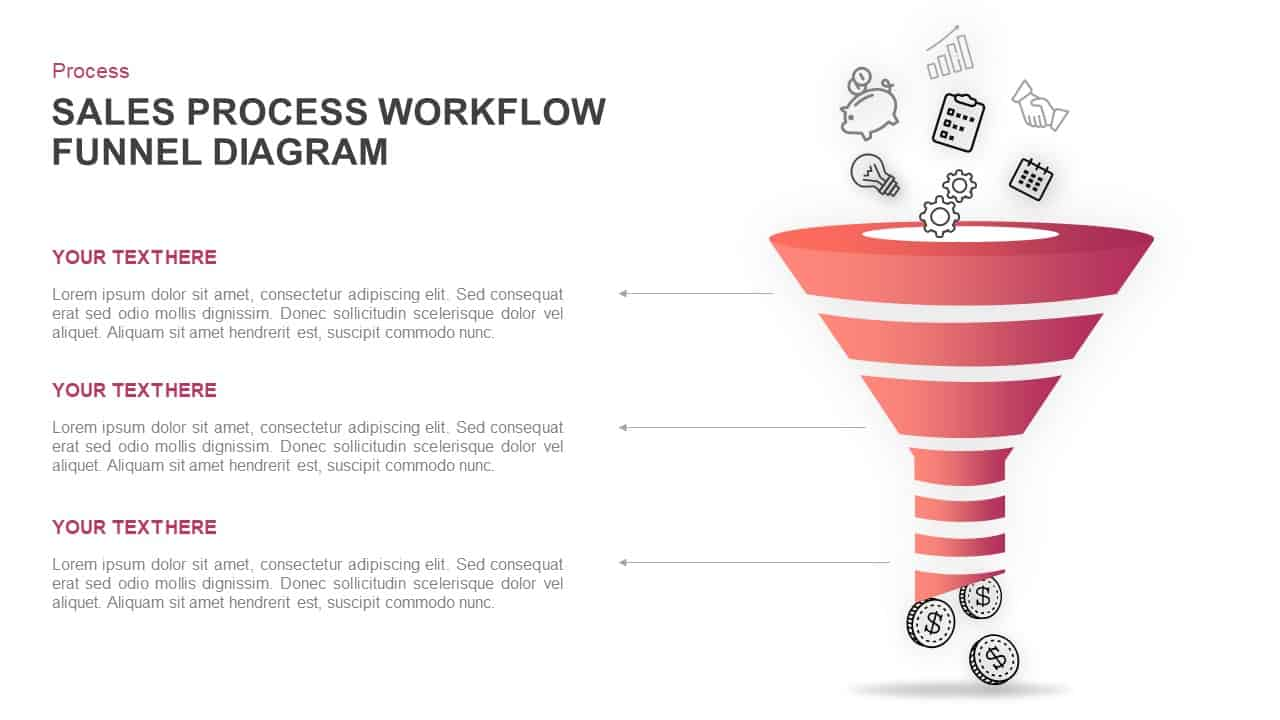 sales process workflow funnel diagram PowerPoint template
