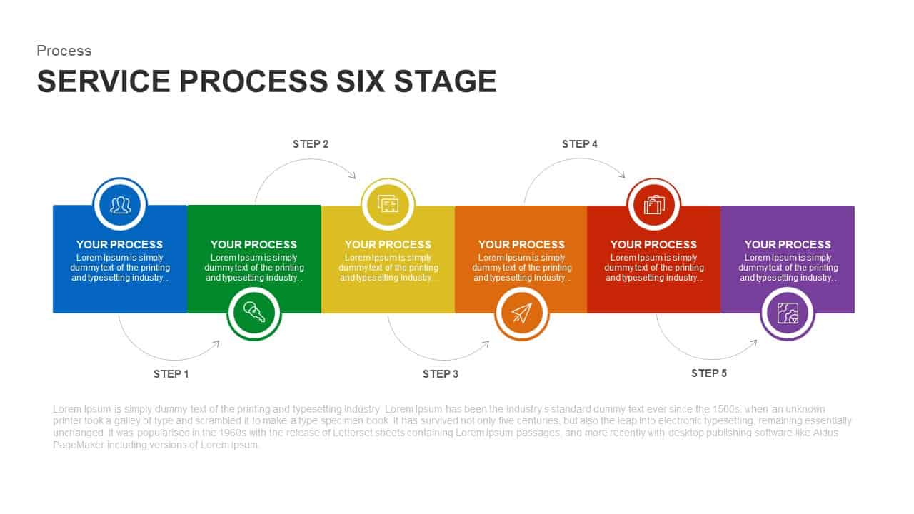 6 stage service process PowerPoint template