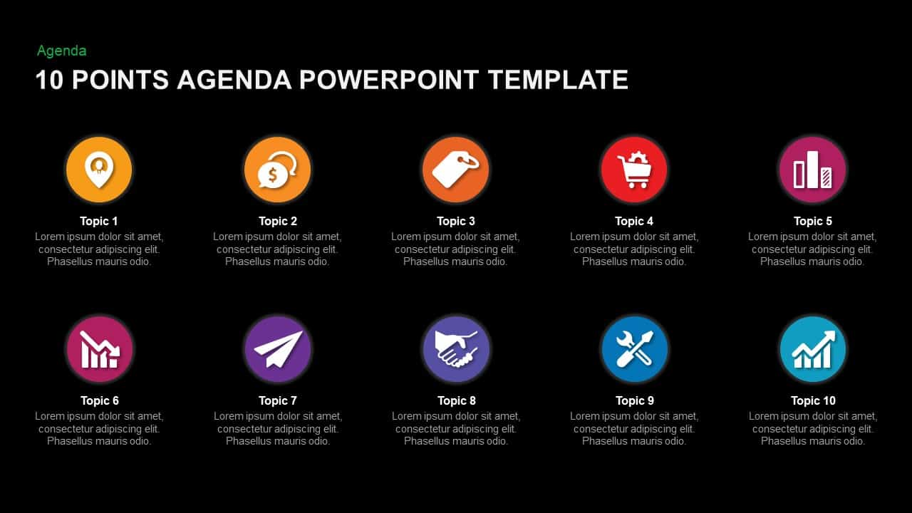 10 Point Agenda Template for PowerPoint and Keynote