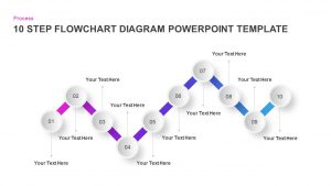 10 Step Flow Chart Diagram Template for PowerPoint and Keynote