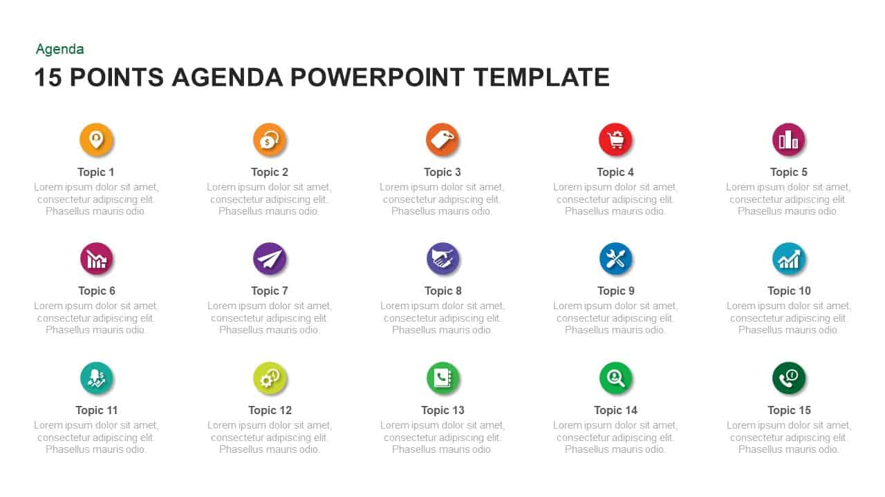 15 Point Agenda PowerPoint Template and Keynote