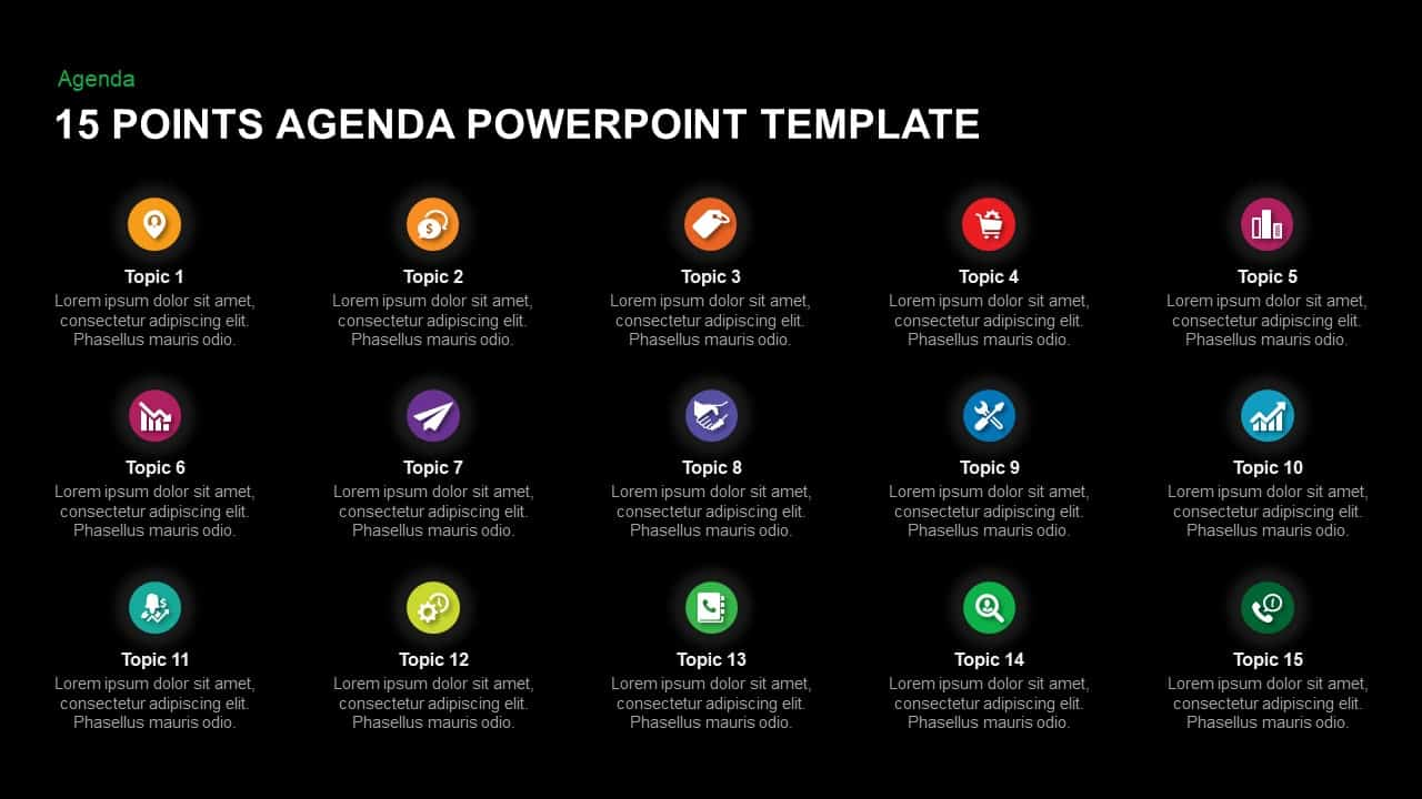 15 Point Agenda Template for PowerPoint and keynote