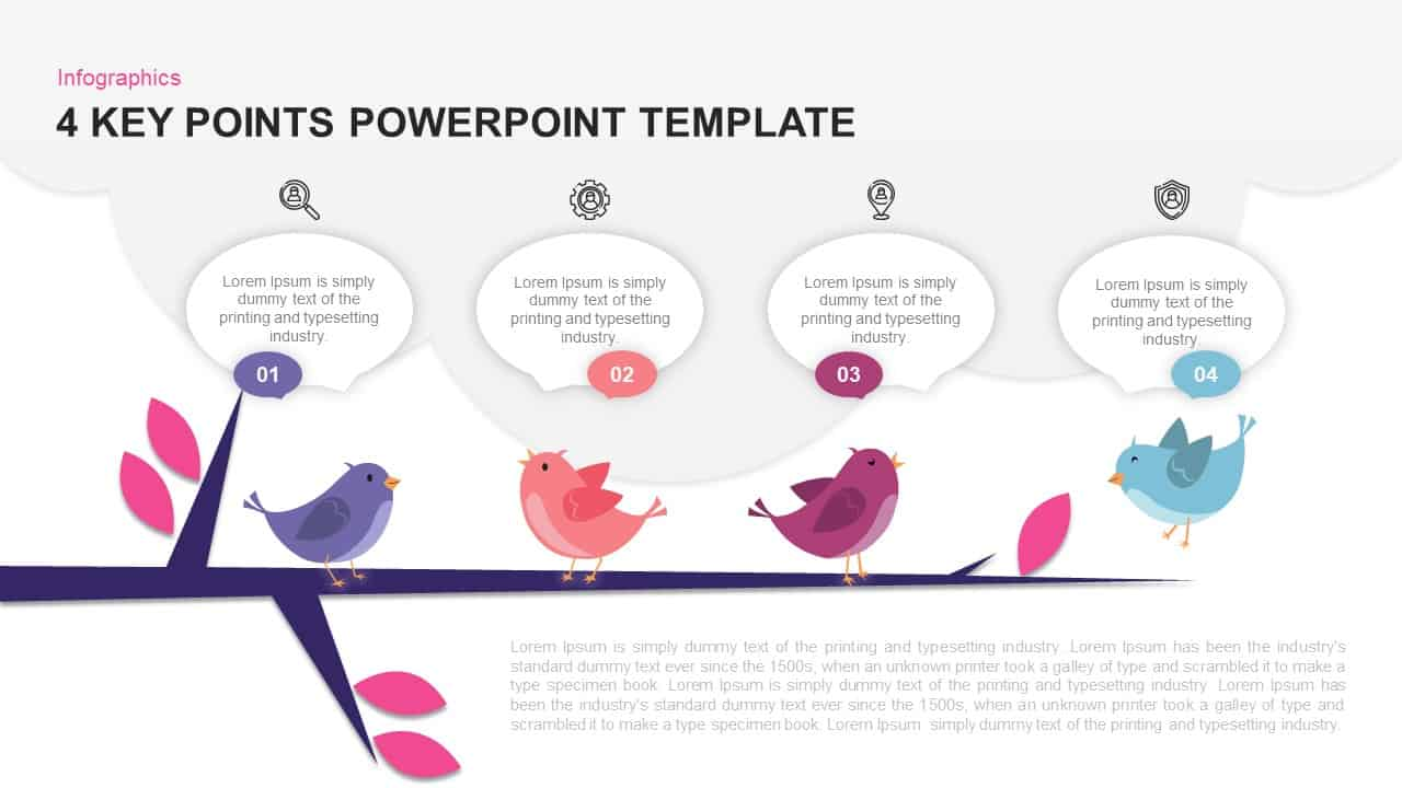 4 Key Points Template for PowerPoint and Keynote
