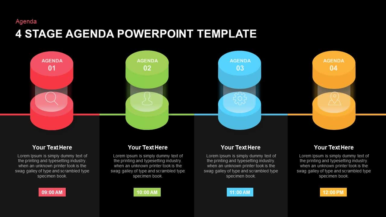 4 Stage Agenda PowerPoint Template and Keynote