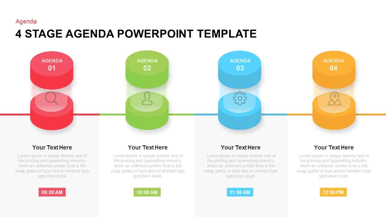 4 Stage Agenda Template for PowerPoint & Keynote