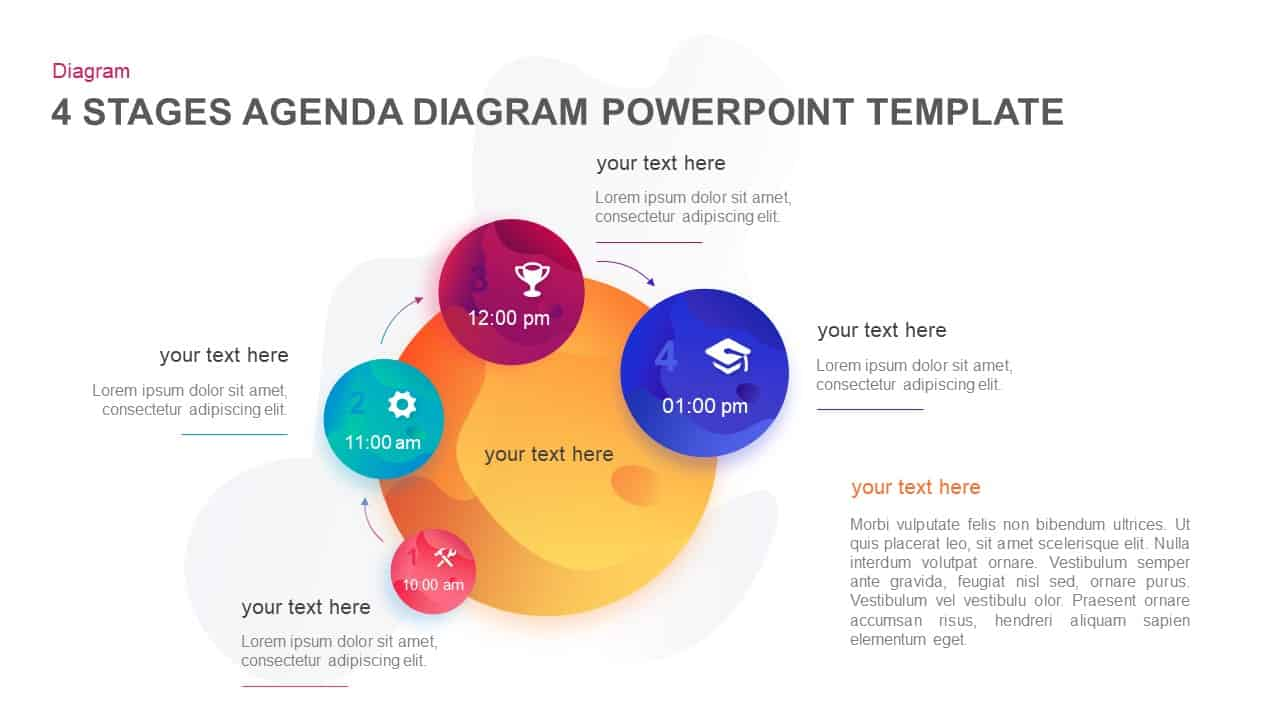 4 Stages Agenda PowerPoint Template and Keynote