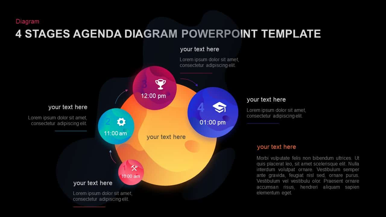 4 Stages Agenda Template for PowerPoint and Keynote