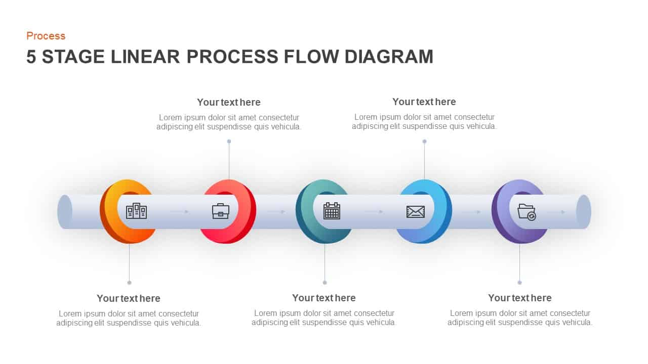 5 Stage Linear Process Diagram PowerPoint Template and Keynote