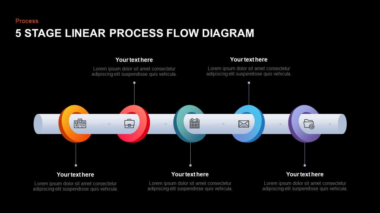 5 Stage Linear Process Diagram Template for PowerPoint and Keynote