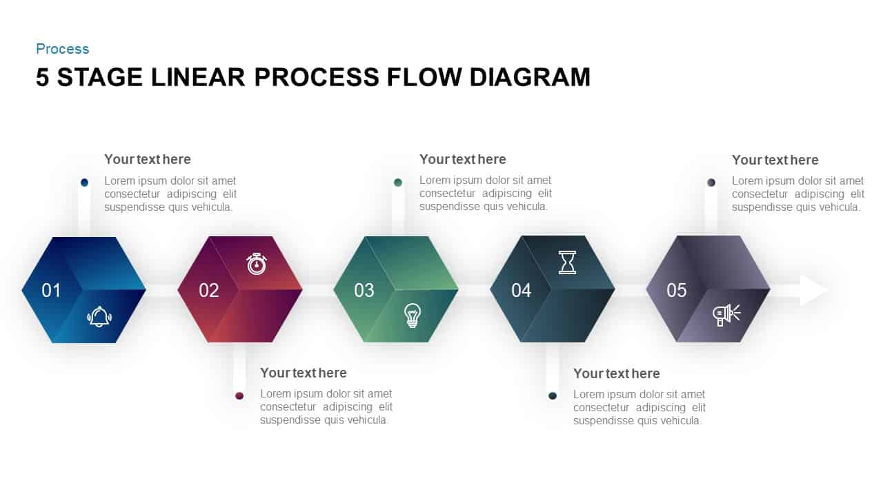5 Stage Linear Process Flow Diagram Template For Powerpoint Keynote
