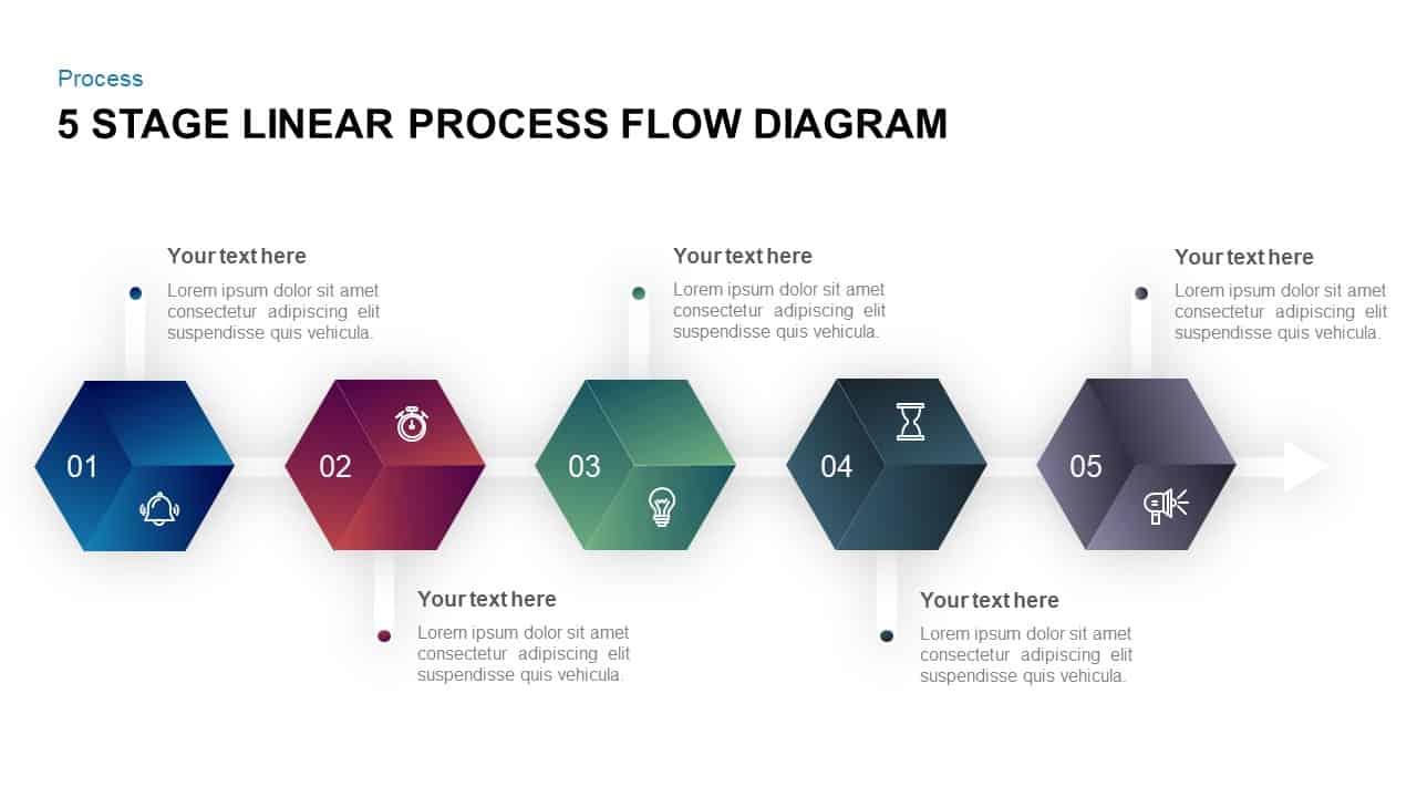 5 stage linear process flow diagram template for. Black Bedroom Furniture Sets. Home Design Ideas