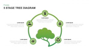 5 Stage Tree Diagram Template for PowerPoint and Keynote