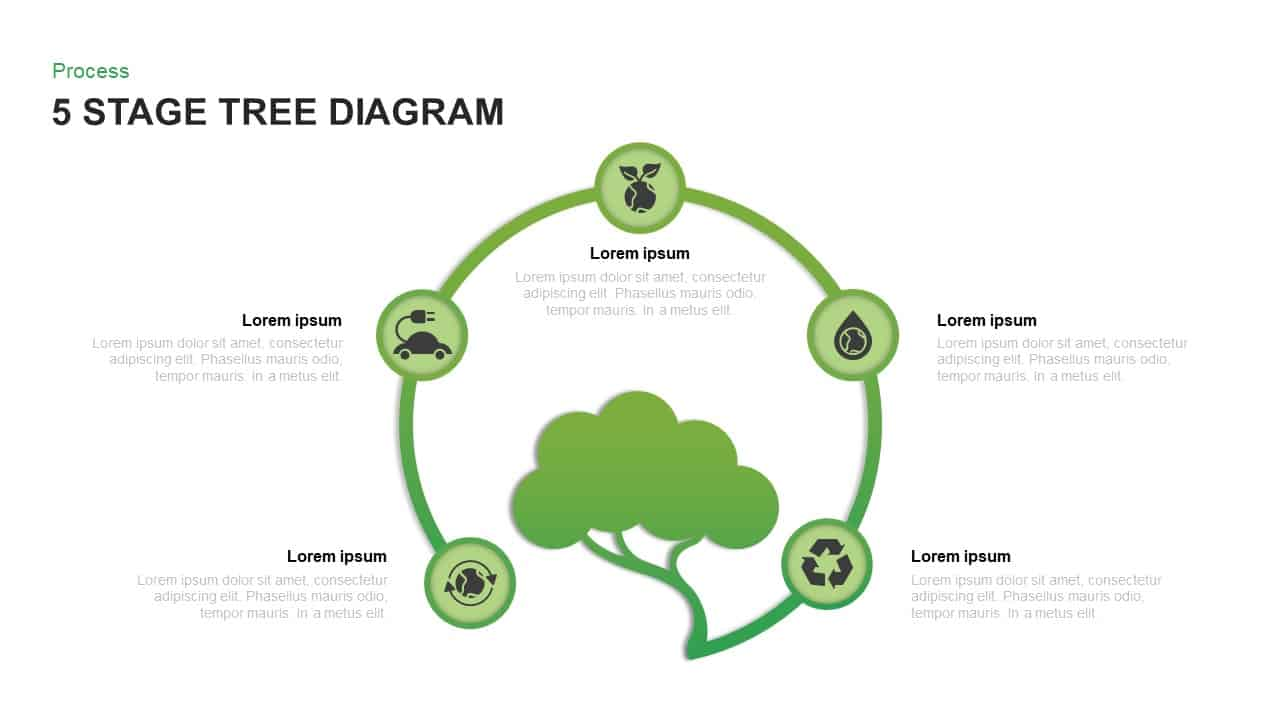 5 stage tree diagram PowerPoint template and Keynote