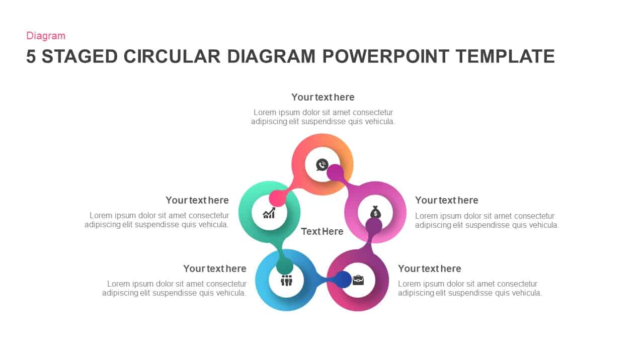 5 staged circular diagram PowerPoint template and keynote
