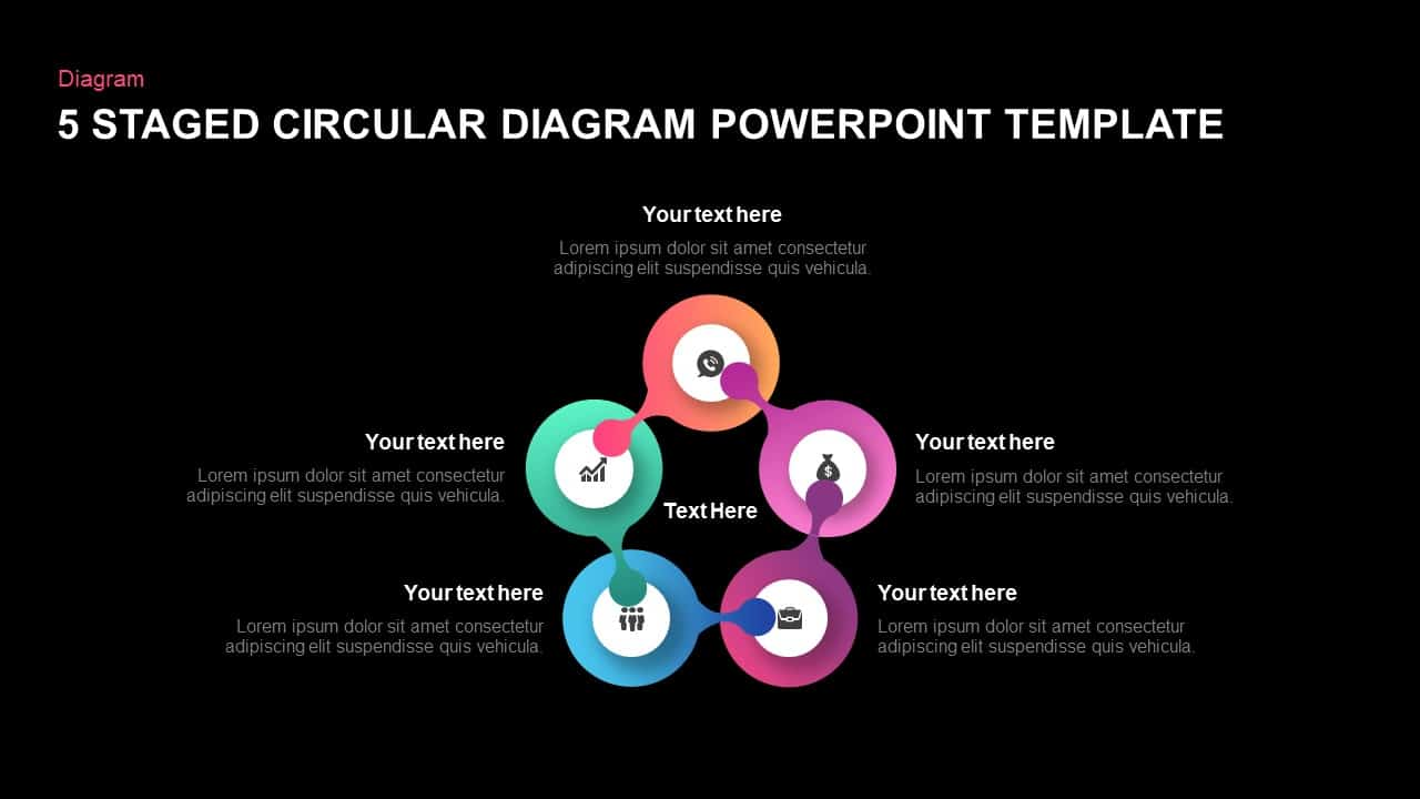 5 staged circular diagram template for PowerPoint and keynote