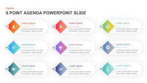 9 Point Agenda PowerPoint Template and Keynote Slide