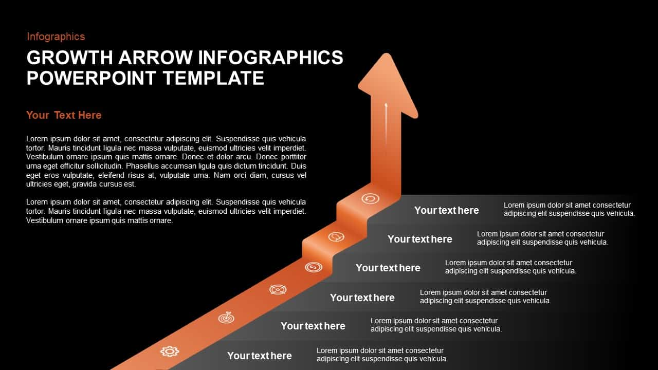 growth arrow template for PowerPoint and keynote