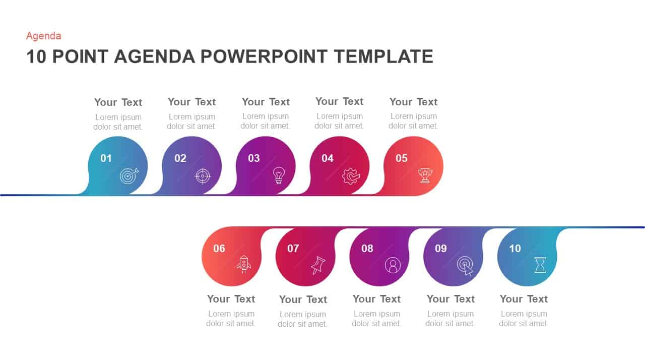 10 Step Agenda PowerPoint Template