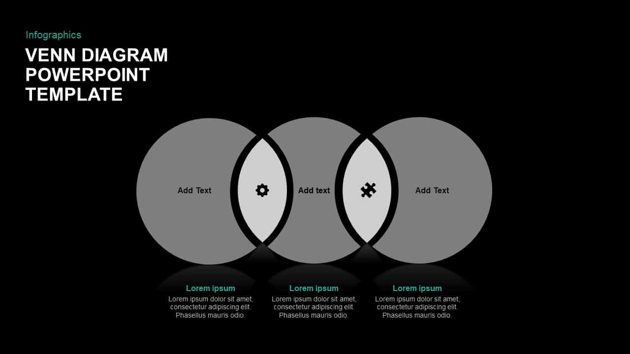 3 circle venn diagram template for PowerPoint