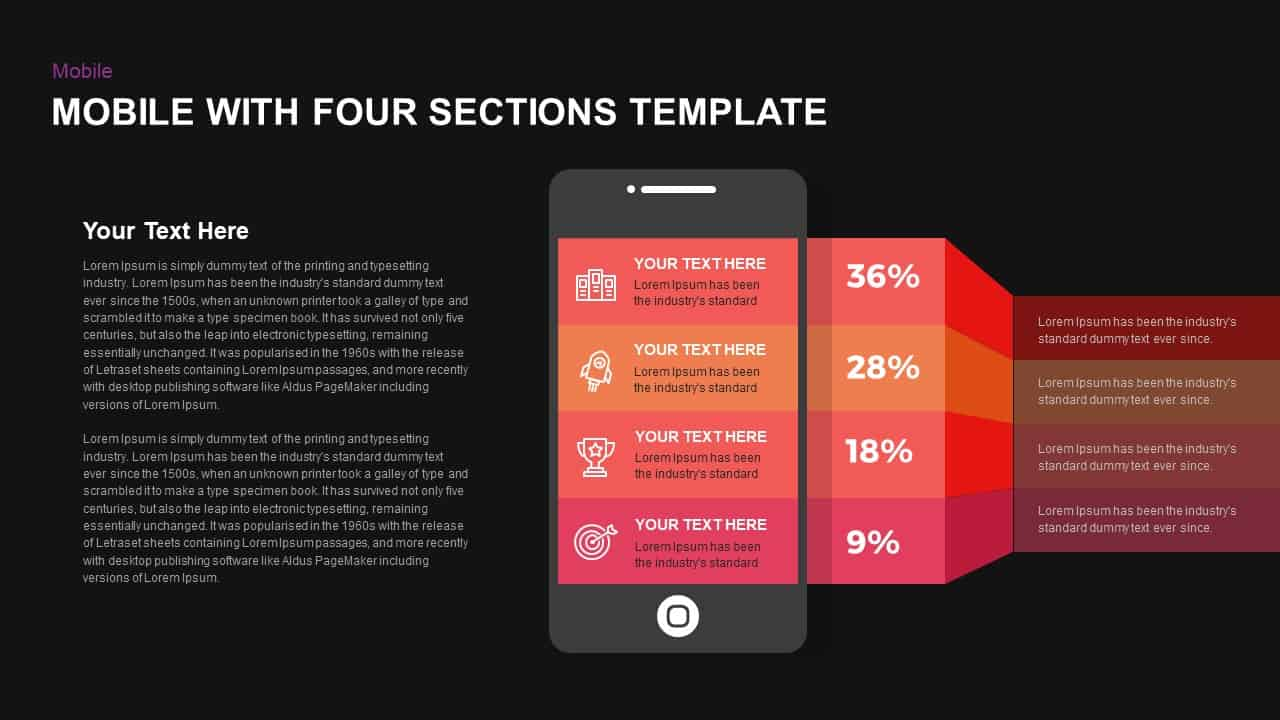 4 Stages Smartphone PowerPoint Template and Keynote