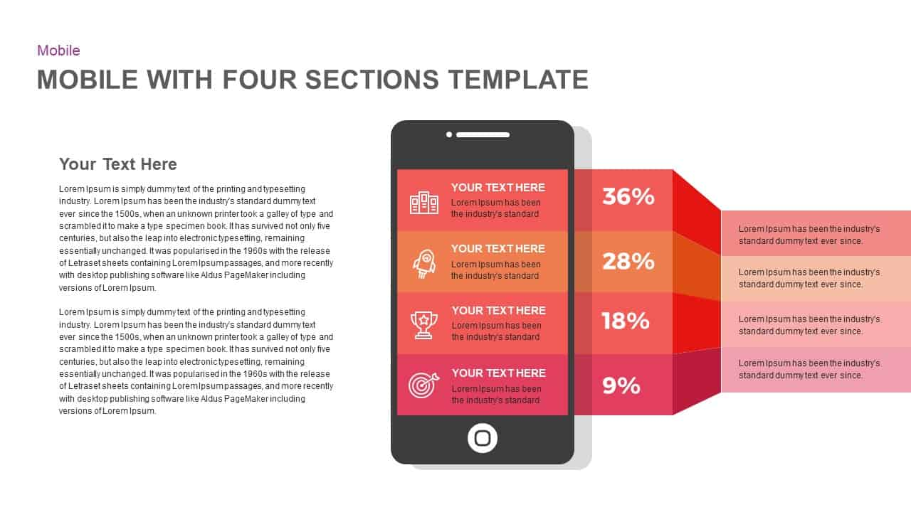 4 Stages Smartphone Template for PowerPoint and Keynote