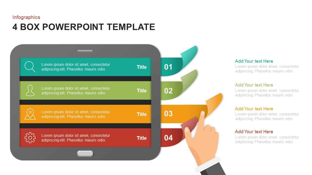 4 box PowerPoint template and keynote