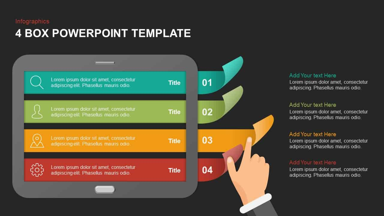 4 box template for PowerPoint and keynote