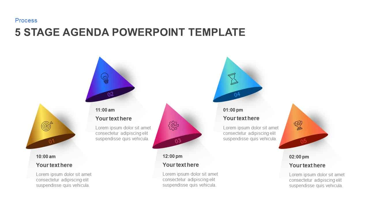 5 Stage Agenda PowerPoint Template and Keynote