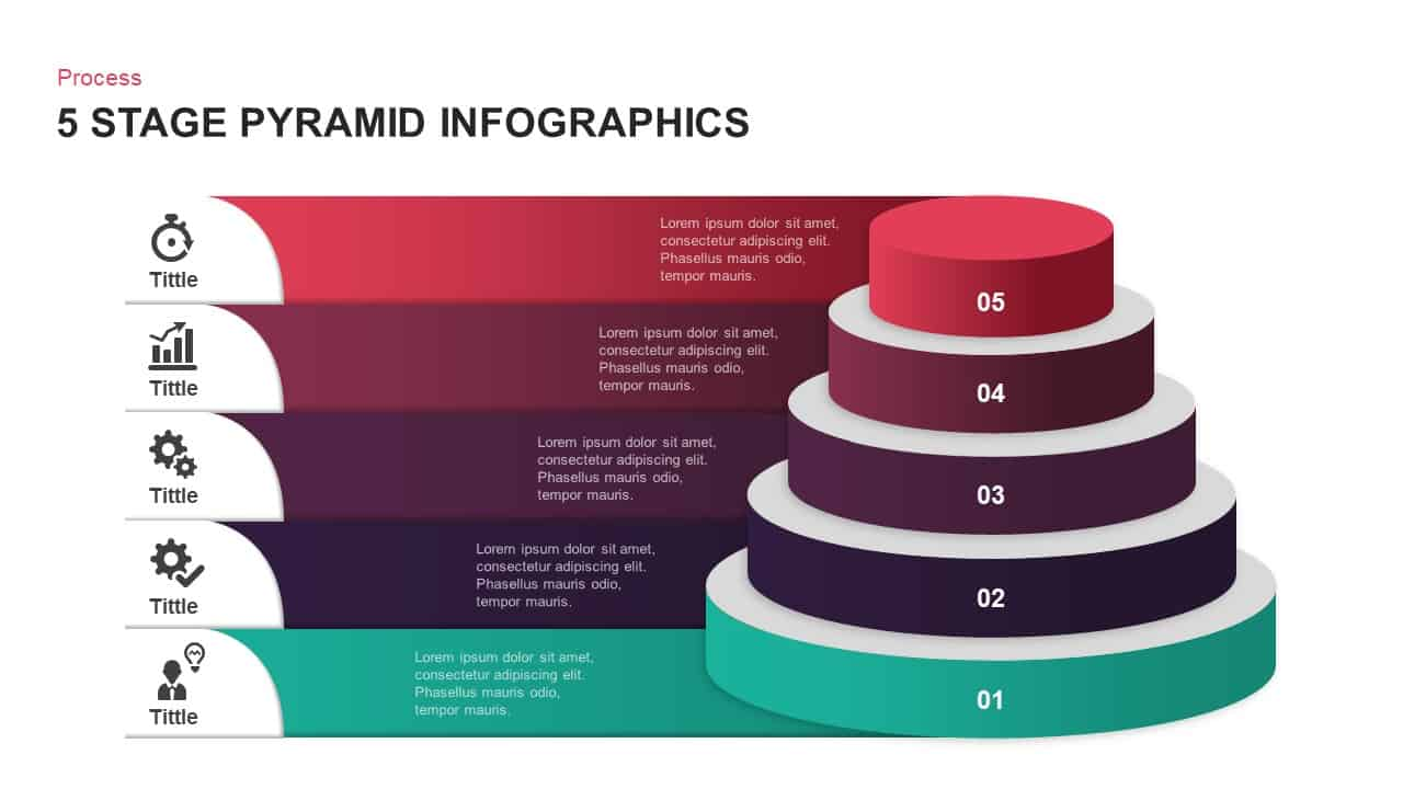 5 Step pyramid diagram PowerPoint template and keynote