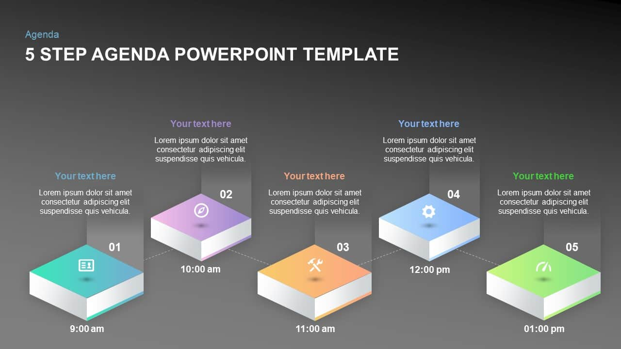 5 step agendaPowerPoint template and keynote