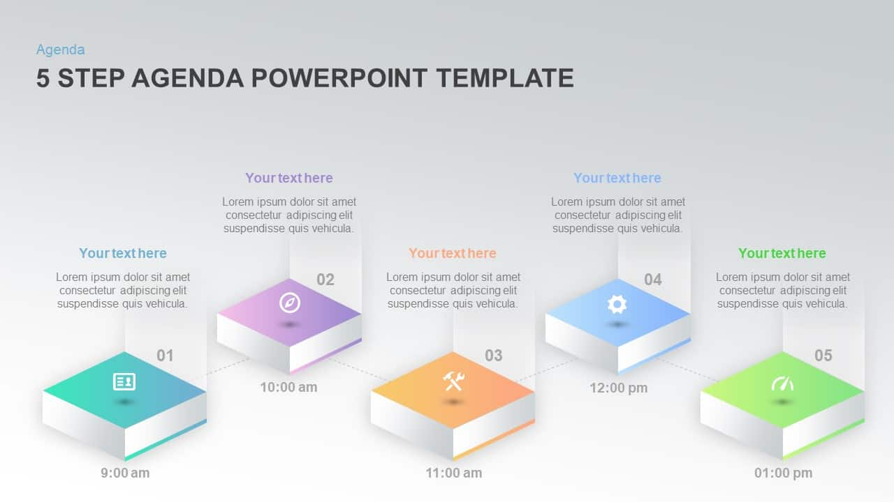 5 step agenda templateforPowerPoint and keynote