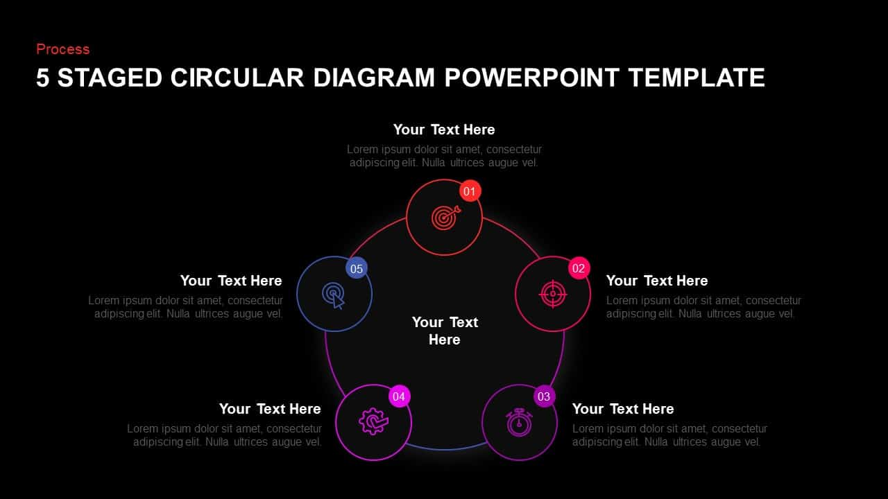 5 step circular diagram design template for PowerPoint and keynote
