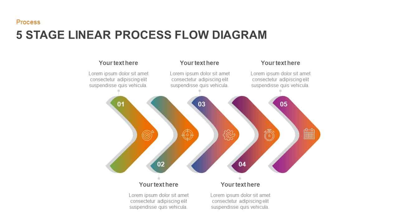 5 step linear process flow diagram PowerPoint template
