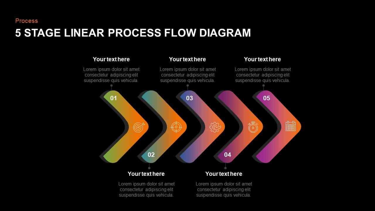 5 Step linear process flow diagram template for PowerPoint and keynote