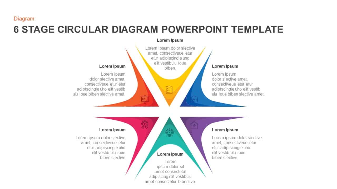 6 Steps Circular Diagram Template for PowerPoint and Keynote