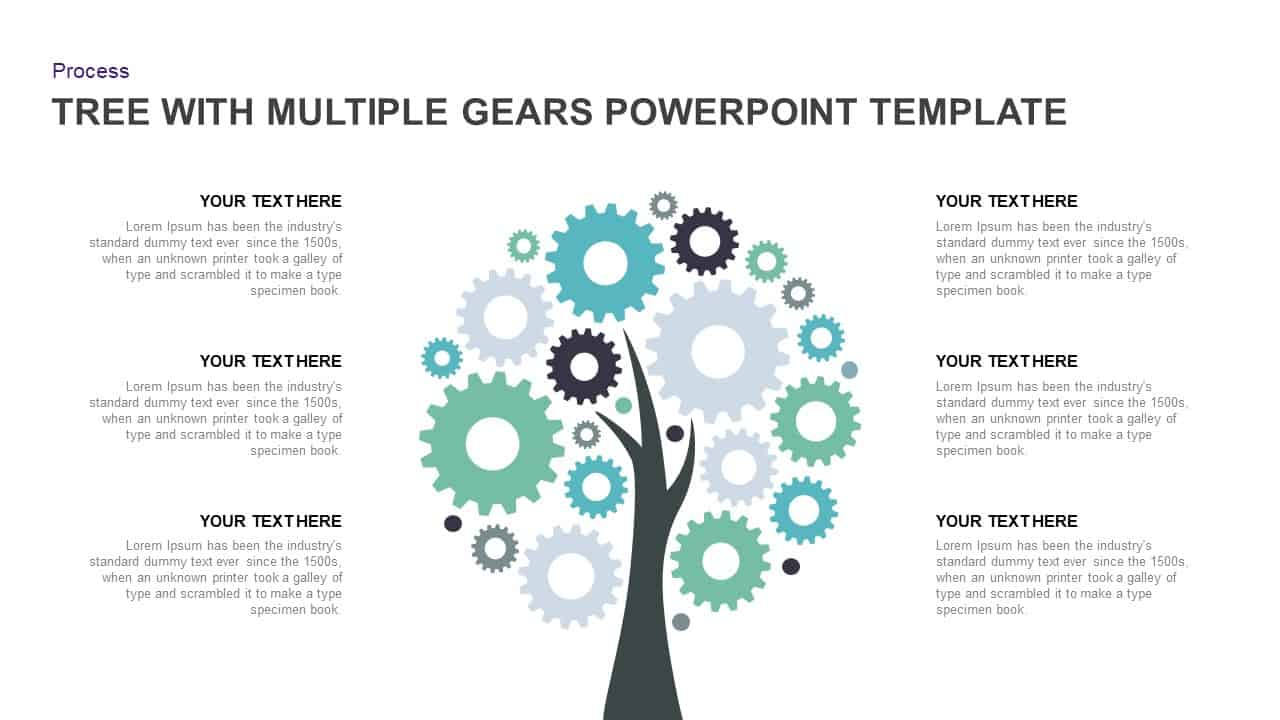 Tree with Multiple Gears PowerPoint Diagram Template