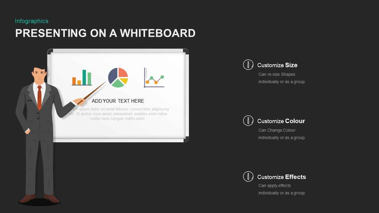 Whiteboard template for PowerPoint presentation
